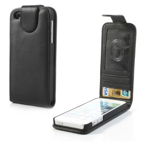 Black Vertical Leather Card Holder Case for iPhone 5 5s