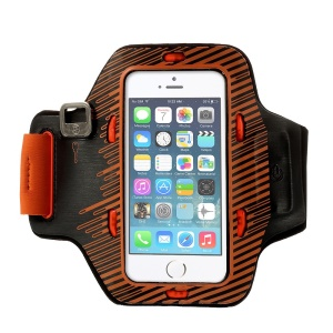 Sports Gym Armband Pouch w/ Colored Flashing LEDs for iPhone 5s 5c 5 - Orange