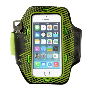 Colored LED Flashing Sports Gym Armband Pouch for iPhone 5s 5c 5 - Yellow green