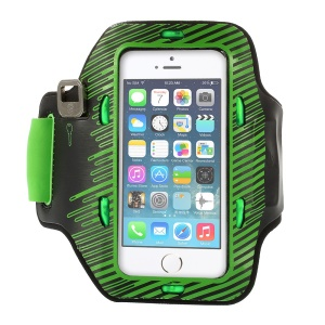 Colored LED Flashing Sports Gym Armband Pouch for iPhone 5s 5c 5 - Green