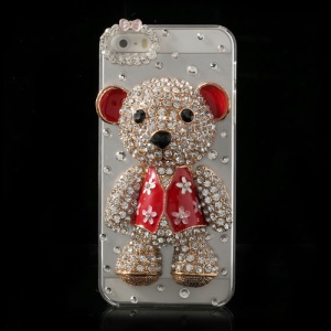 Adorable 3D Bear Twinkling Rhinestone Crystal Hard Case for iPhone 5s 5 - Red