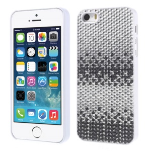 Bling Bling Gel Crystal Hard PC Case for iPhone 5s 5 - Black / Silver