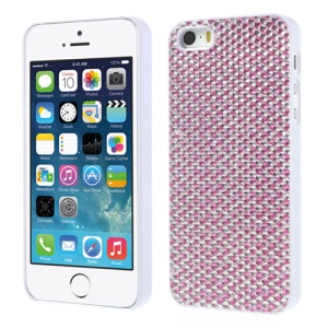 Sparkling Gel Crystal Protective Hard Shell for iPhone 5s 5 - Silver / Pink