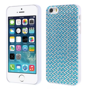Sparkling Gel Crystal Protective Hard Shell for iPhone 5s 5 - Silver / Baby Blue