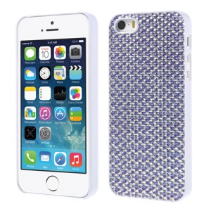 Sparkling Gel Crystal Protective Hard Shell for iPhone 5s 5 - Silver / Purple