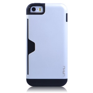 White UMKU for iPhone 5s 5 2 in 1 Card Storage TPU & Plastic Combo Case