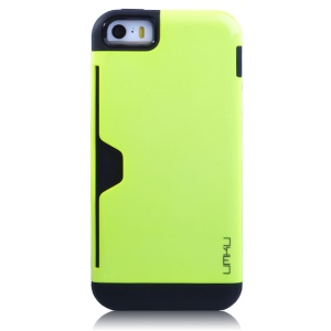 Green UMKU for iPhone 5s 5 Card Storage Detachable TPU & Plastic Hybrid Case