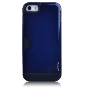 Dark Blue UMKU for iPhone 5s 5 2 in 1 Card Storage TPU & Plastic Hybrid Case