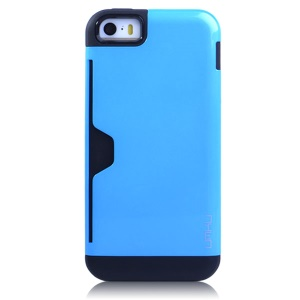 Light Blue UMKU for iPhone 5s 5 Card Storage Detachable TPU & Plastic Hybrid Shell