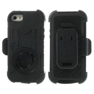 Black 4-Piece PC & Silicone High Impact Defender Case for iPhone 5s 5c 5 w/ Swivel Belt Clip Stand