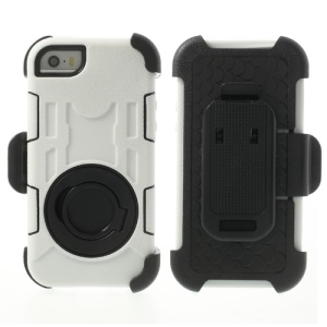 White 4-Piece PC & Silicone High Impact Defender Shell for iPhone 5s 5c 5 w/ Swivel Belt Clip Stand