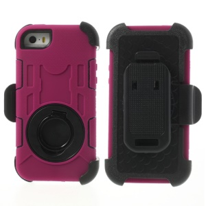 Rose 4-Piece PC & Silicone High Impact Hybrid Case Shell for iPhone 5s 5c 5 w/ Swivel Belt Clip Stand