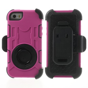 Pink for iPhone 5s 5c 5 4-Piece PC & Silicone High Impact Hybrid Shield w/ Swivel Belt Clip Stand
