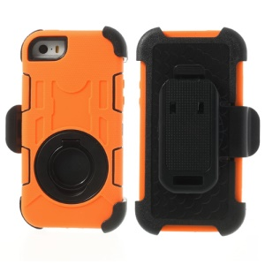 Orange for iPhone 5s 5c 5 4-Piece PC & Silicone High Impact Combo Case w/ Swivel Belt Clip Holder