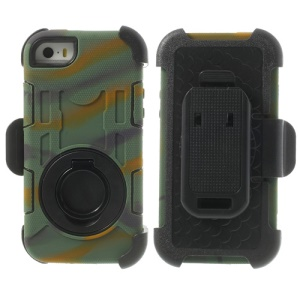 Camouflage 4-Piece PC & Silicone for iPhone 5s 5c 5 High Impact Shield Case w/ Swivel Belt Clip Holder