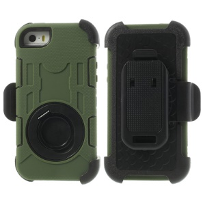 Army Green 4-Piece PC & Silicone for iPhone 5s 5c 5 High Impact Shield Cover w/ Swivel Belt Clip Holder