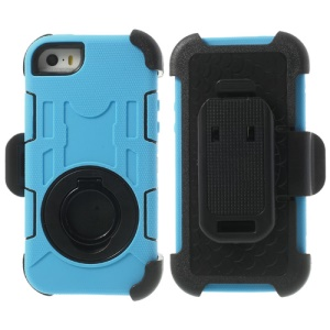 Pale Blue 4-Piece PC & Silicone for iPhone 5s 5c 5 High Impact Defender Case w/ Swivel Belt Clip Holder