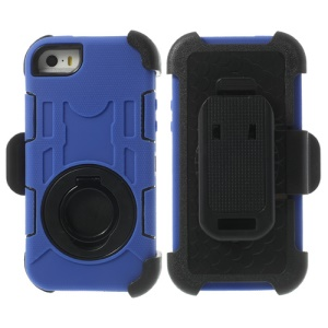 Deep Blue 4-Piece PC & Silicone High Impact Hybrid Cover w/ Swivel Belt Clip Holder for iPhone 5s 5c 5