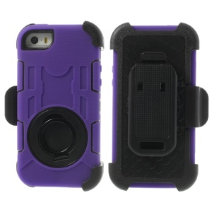 Purple 4-Piece PC & Silicone High Impact Cover Shell w/ Swivel Belt Clip Holder for iPhone 5s 5c 5