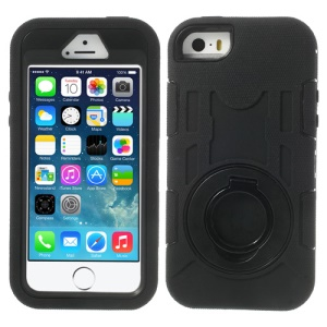 Black 3-Piece PC & Silicone High Impact Armored Case w/ Stand Holder for iPhone 5s 5c 5