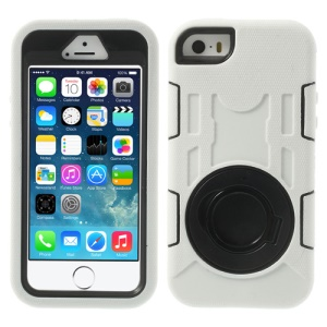 White 3-Piece PC & Silicone High Impact Armored Shell w/ Stand Holder for iPhone 5s 5c 5