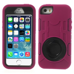 Rose for iPhone 5s 5c 5 3-Piece PC & Silicone High Impact Hybrid Armored Shell w/ Stand