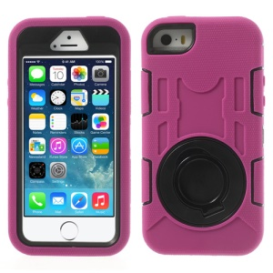 Pink for iPhone 5s 5c 5 3-Piece PC & Silicone High Impact Hybrid Armor Cover w/ Stand