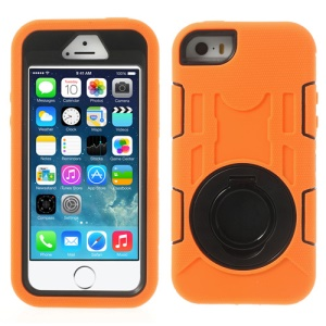 Orange 3-Piece PC & Silicone for iPhone 5s 5c 5 High Impact Combo Armor Case w/ Stand
