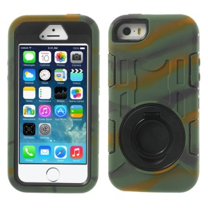 Camouflage 3-Piece PC & Silicone for iPhone 5s 5c 5 High Impact Armored Case w/ Stand
