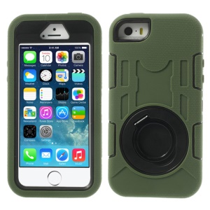 Army Green 3-Piece PC & Silicone for iPhone 5s 5c 5 High Impact Combo Shell w/ Holder