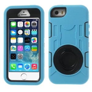 Pale Blue 3-Piece PC & Silicone High Impact Shell Case w/ Circular Stand for iPhone 5s 5c 5