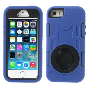Deep Blue 3-Piece PC & Silicone High Impact Armor Shell w/ Circular Holder for iPhone 5s 5c 5