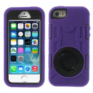 Purple 3-Piece PC & Silicone High Impact Armor Hybrid Case w/ Stand for iPhone 5s 5c 5