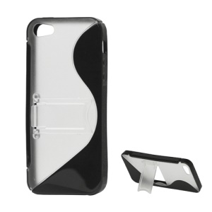 S Shape TPU & Plastic Hybrid Case with Kickstand for iPhone 5s 5 - Black