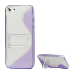 S Shape TPU & Plastic Hybrid Shell with Kickstand for iPhone 5s 5 - Purple