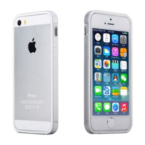 Rock Slim Guard Series Dual-color PC + TPU Hybrid Bumper for iPhone 5s 5 - White / Silver