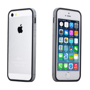 Rock Slim Guard Series Dual-color PC + TPU Bumper Frame for iPhone 5s 5 - Black / Grey