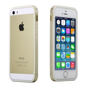 Rock Slim Guard Series Dual-color PC + TPU Bumper Frame Shell for iPhone 5s 5 - White / Gold