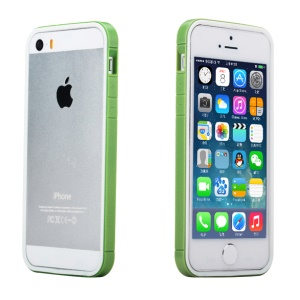 Rock for iPhone 5s 5 Slim Guard Series Dual-color PC + TPU Combo Bumper - White / Green