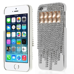 Sparkling Rhinestone Crystal Electroplating Hard Plastic Case for iPhone 5s 5 - Orange