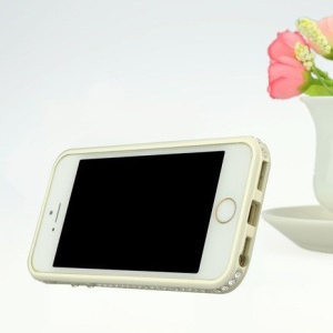 Newsh for iPhone 5s 5 Rhinestone Aluminum Alloy Metal Bumper Frame w/ Stand - White