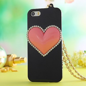 Diamond Loving Heart Hard Back Case for iPhone 5s 5 with Chain - Black
