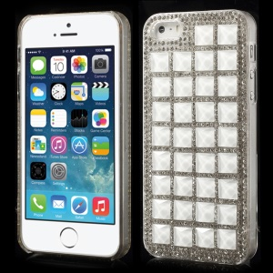 3D Square Crystals Back Hard Plastic Case for iPhone 5s 5 - White