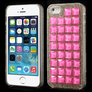 3D Square Crystals Back Hard Plastic Cover for iPhone 5s 5 - Rose