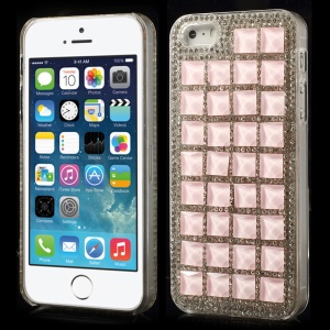 3D Square Crystals Back Hard Plastic Shell for iPhone 5s 5 - Pink