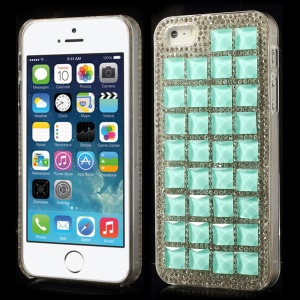 3D Square Crystals Back Hard Plastic Shell Cover for iPhone 5s 5 - Cyan