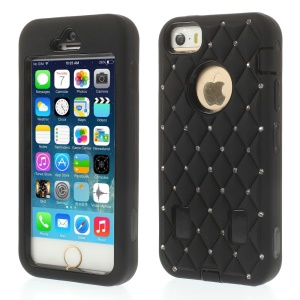Diamond Starry Sky Silicone & PC Hybrid Case for iPhone 5s 5 - Black