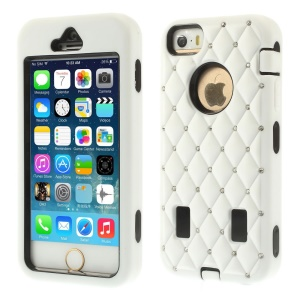 Diamond Starry Sky Silicone & PC Hybrid Cover for iPhone 5s 5 - White