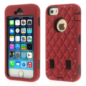 Diamond Starry Sky Silicone & PC Hybrid Shell for iPhone 5s 5 - Red