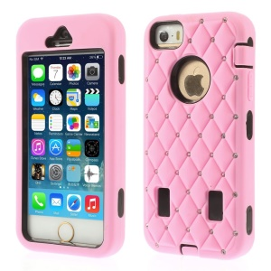 Diamond Starry Sky Silicone & PC Hybrid Case for iPhone 5s 5 - Pink